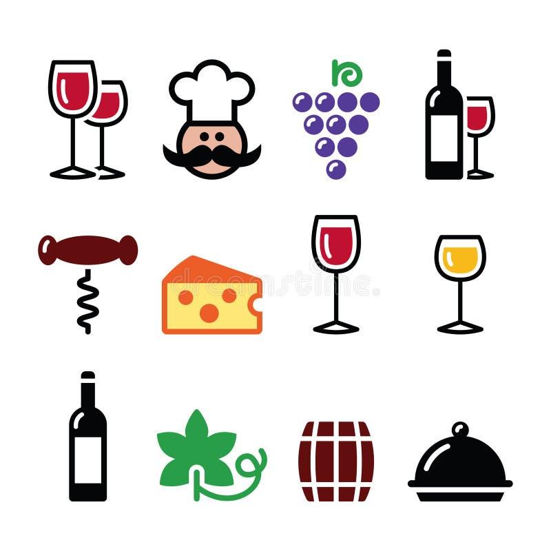 Os ícones coloridos do vinho ajustaram - o vidro, garrafa, restaurante, alimento ilustração stock