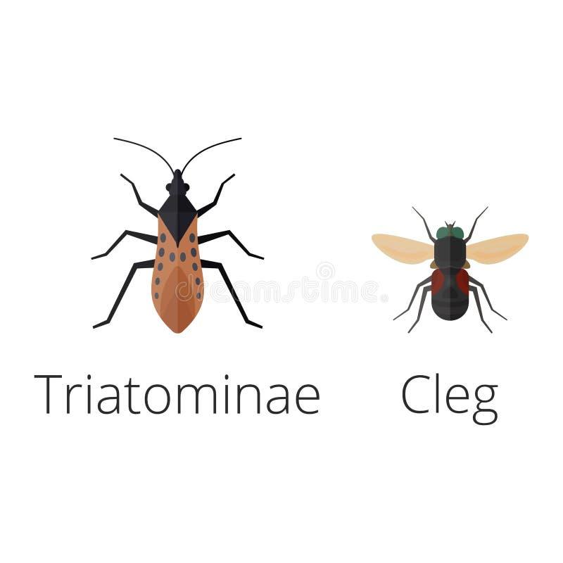 Os ícones coloridos dos insetos isolaram a ilustração selvagem do vetor dos erros da lagarta do sem-fim do verão do detalhe da as ilustração stock