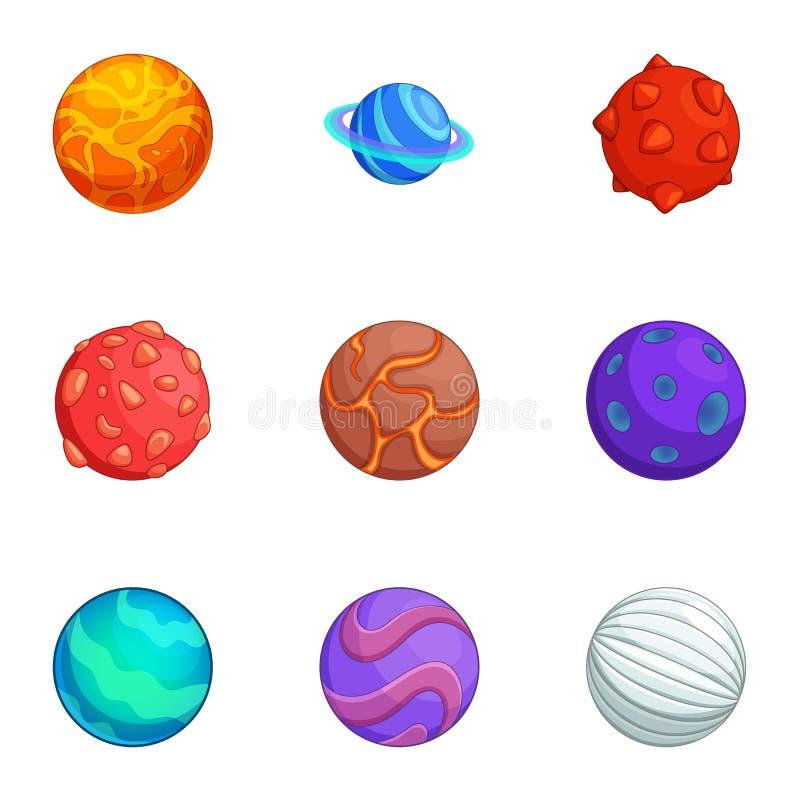 Os ícones coloridos dos planetas da fantasia ajustaram-se, estilo dos desenhos animados ilustração stock