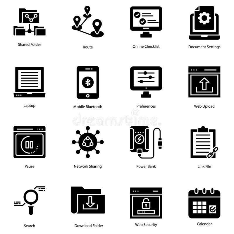 Os ícones contínuos da interface de usuário embalam ilustração royalty free