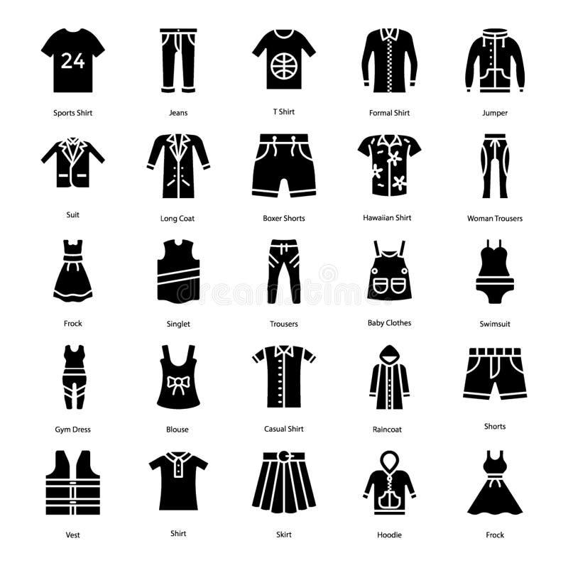 Os ícones contínuos da roupa embalam ilustração royalty free