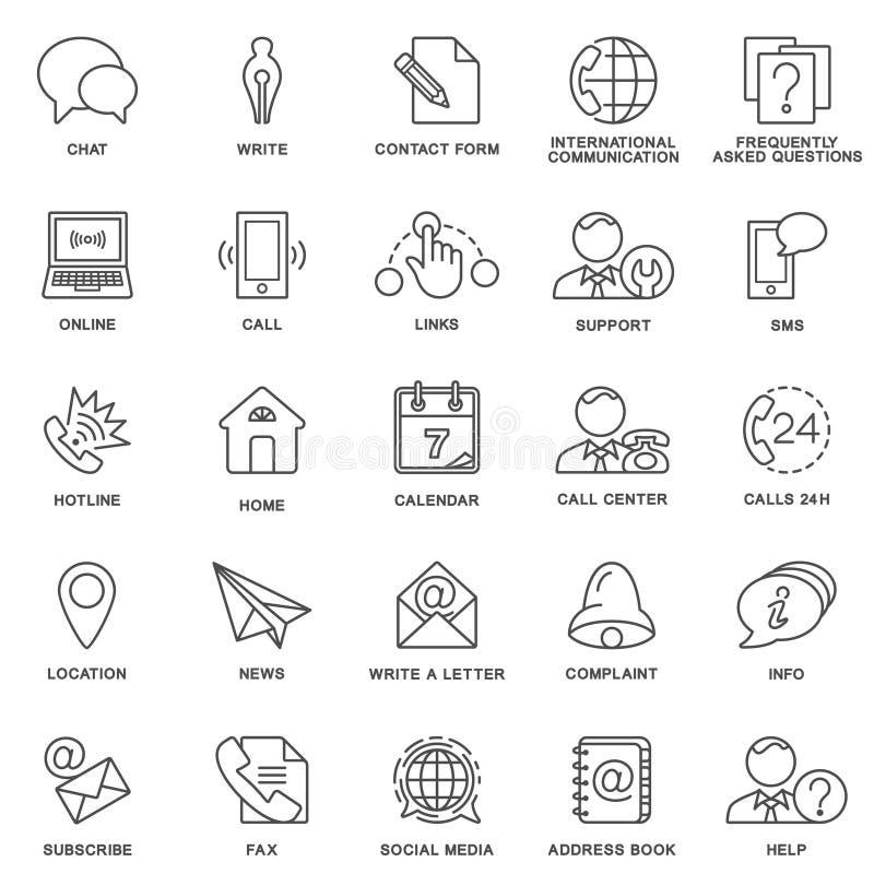 Os ícones contactam-nos Métodos de uma comunicação e da informação linhas finas ilustração do vetor