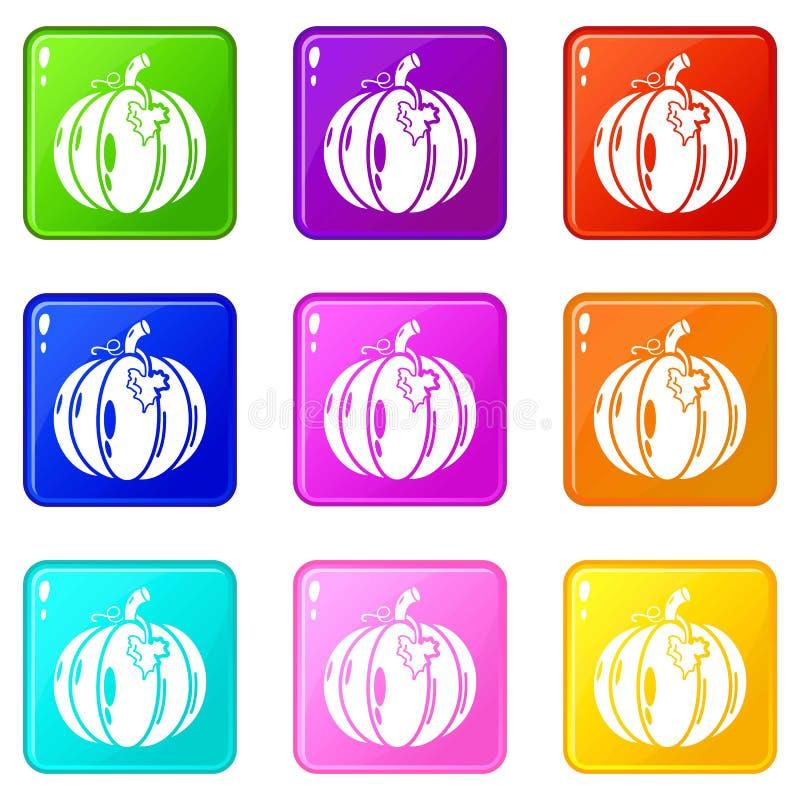 Os ícones da abóbora ajustaram a coleção de 9 cores ilustração royalty free