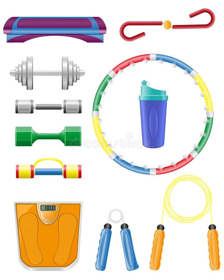 Os ícones Da Aptidão Ajustados Vector A Ilustração Foto de Stock