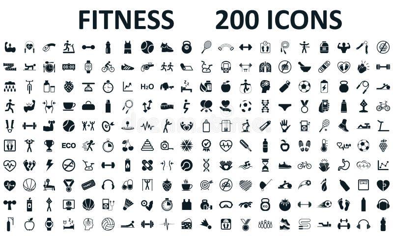 Os ícones da aptidão ajustaram 200 isolados Exercício da aptidão, ilustração do treinamento do exercício do esporte Os caráteres  ilustração do vetor
