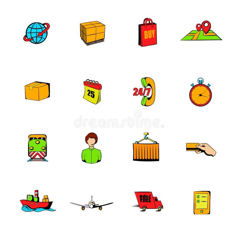 Os ícones da banda desenhada da logística ajustaram desenhos animados ilustração do vetor