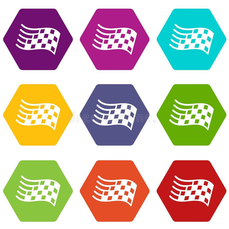 Os ícones da bandeira do revestimento ajustaram o vetor 9 ilustração stock