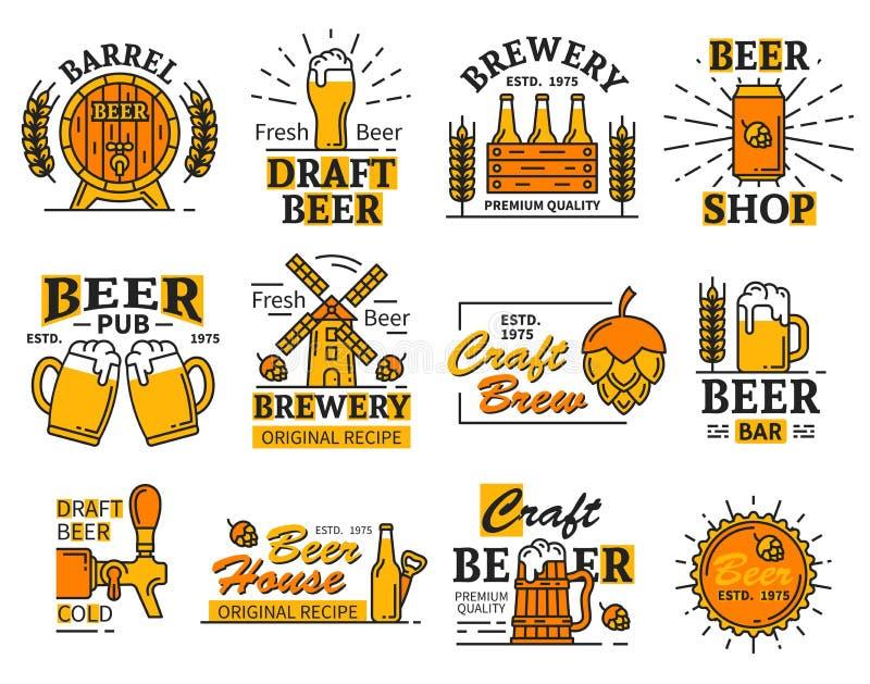 Os ícones da barra ou da cervejaria da casa da cerveja com álcool bebem ilustração royalty free