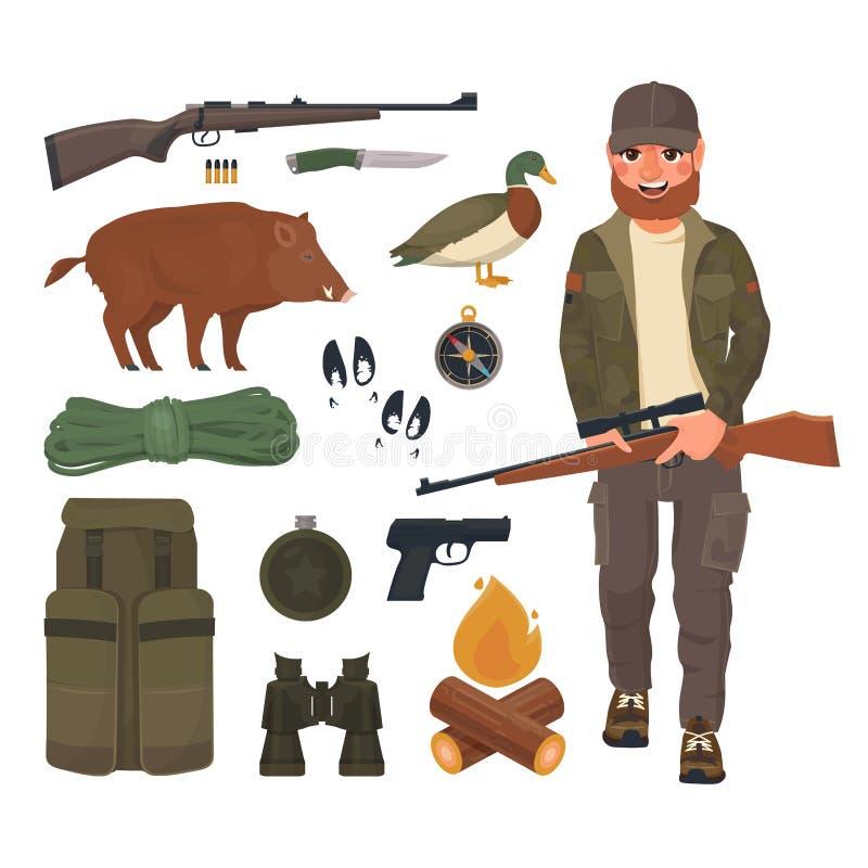 Os ícones da caça ajustaram-se, caçador com o rifle no estilo dos desenhos animados Munição do caçador profissional ilustração do vetor