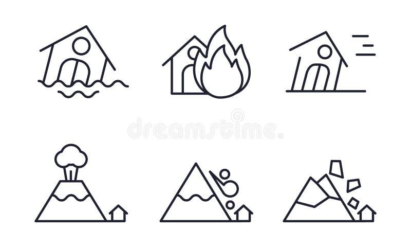 Os ícones da catástrofe natural ajustam-se, inundam-se, ateiam-se fogo, furacão, erupção vulcânica, rockfall, ilustração do vetor ilustração royalty free