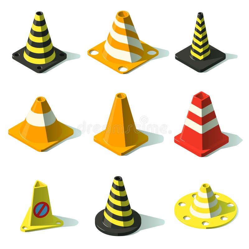 Os ícones da cerca do tráfego do cone ajustaram-se, estilo isométrico ilustração royalty free