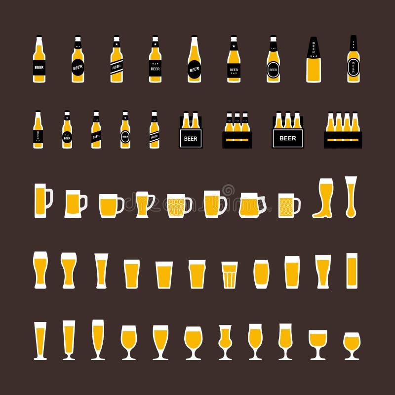 Os ícones da cerveja ajustaram-se no estilo liso, nas garrafas e nos vidros Vetor ilustração stock