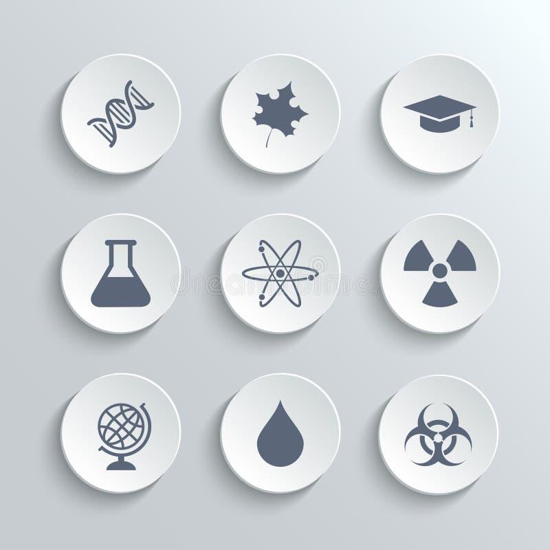 Os ícones da ciência ajustam-se - vector os botões redondos brancos ilustração stock