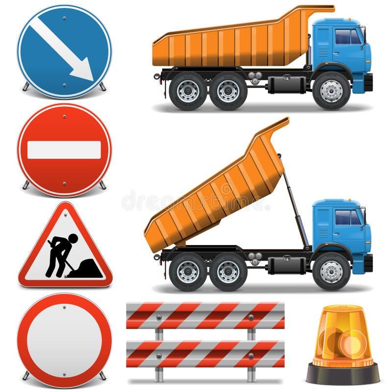 Os ícones da construção de estradas do vetor ajustaram 2 ilustração stock