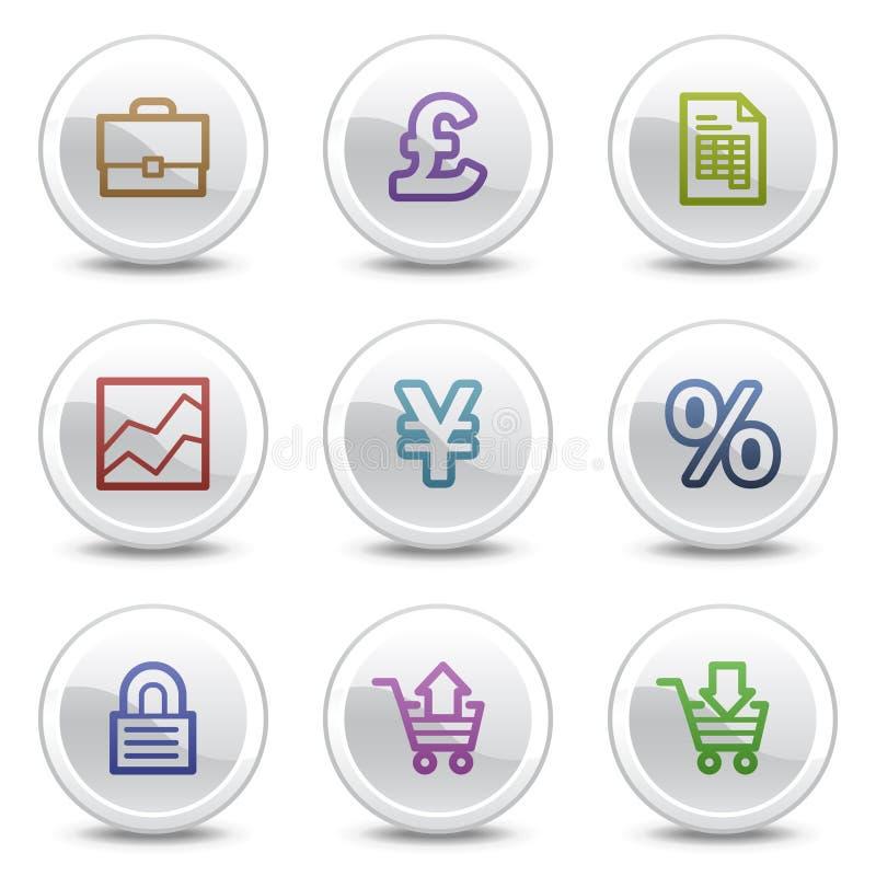 Os ícones da cor do Web do comércio electrónico, o círculo branco abotoam-se ilustração stock