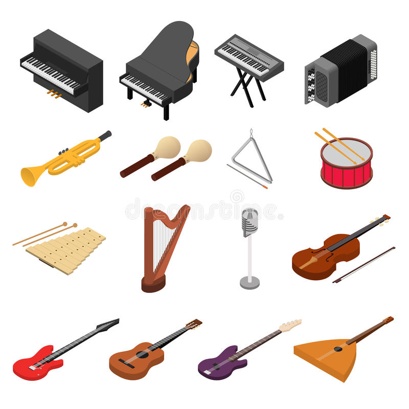 Os ícones da cor dos instrumentos de música ajustaram a vista isométrica Vetor ilustração stock