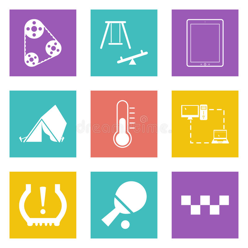 Os ícones da cor para o design web ajustaram 30 ilustração royalty free