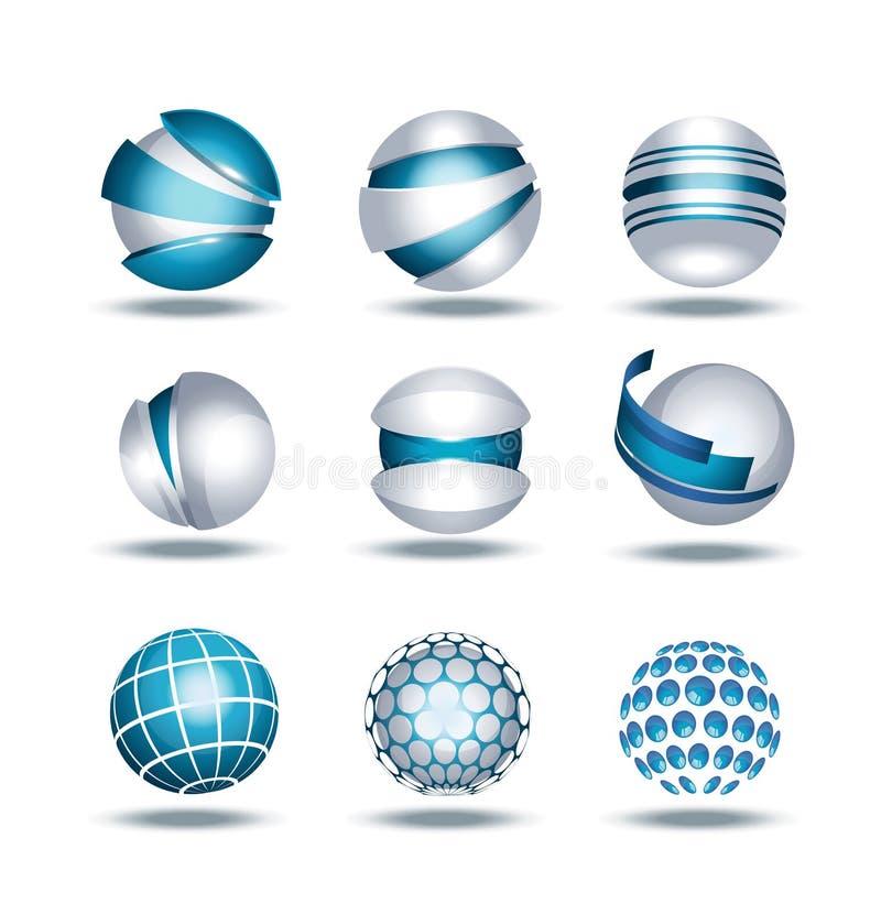 Os ícones da esfera 3d do globo ajustaram a ilustração ilustração royalty free