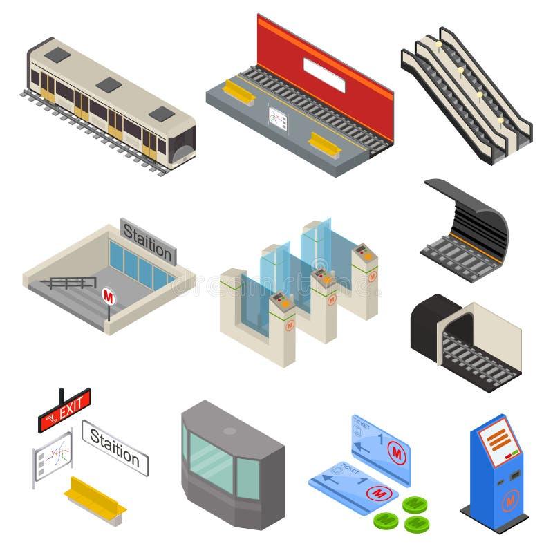 Os ícones da estação de metro 3d ajustaram a vista isométrica Vetor ilustração do vetor