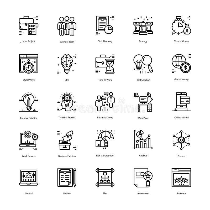 Os ícones da estratégia e da gestão embalam ilustração royalty free