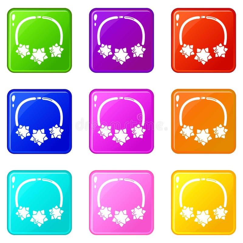 Os ícones da estrela da colar ajustaram a coleção de 9 cores ilustração do vetor