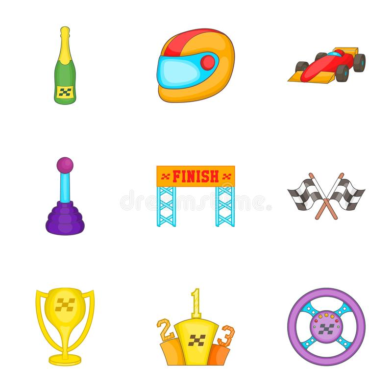 Download Os ícones Da Fórmula 1 Do Campeonato Ajustaram-se, Estilo Dos Desenhos Animados Ilustração do Vetor - Ilustração de estrada, bandeiras: 80101240