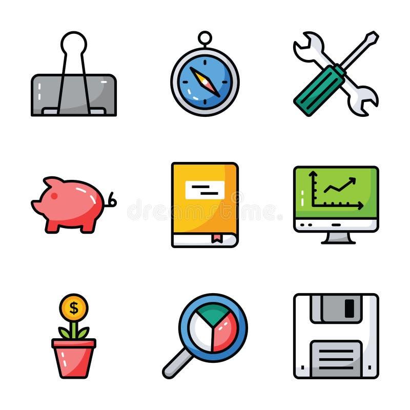 Os ícones da finança e do negócio embalam ilustração do vetor