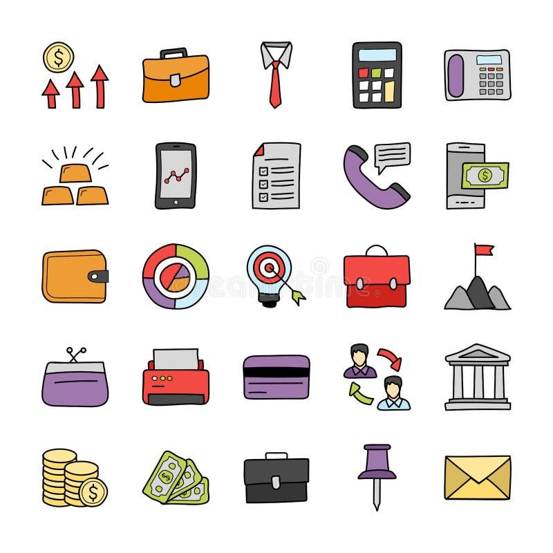 Os ícones da finança e da operação bancária embalam ilustração do vetor