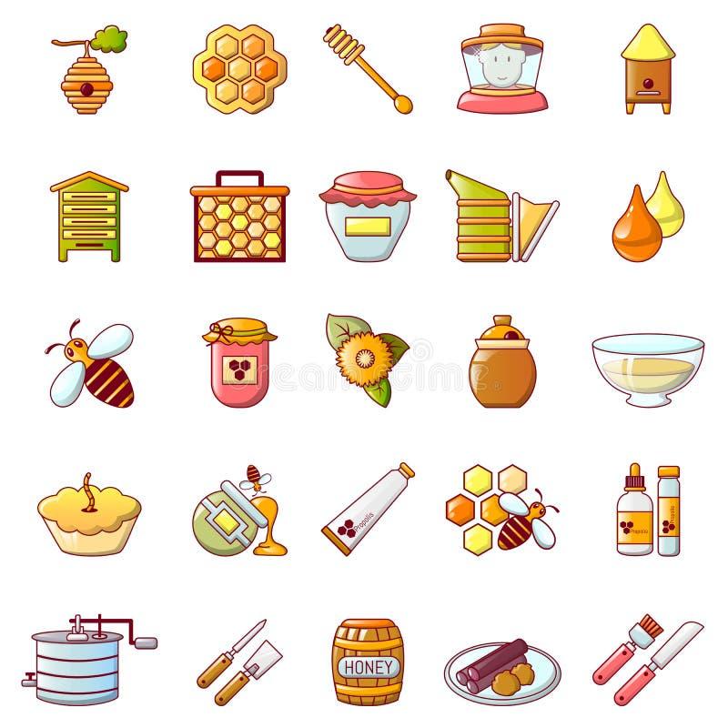 Os ícones da geleia do mel do Propolis ajustaram-se, estilo dos desenhos animados ilustração royalty free