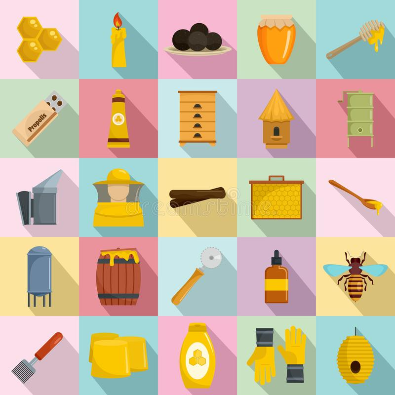 Os ícones da geleia real do mel do Propolis ajustaram-se, estilo liso ilustração stock