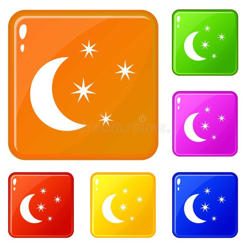 Os ícones da lua e das estrelas ajustaram a cor do vetor ilustração do vetor