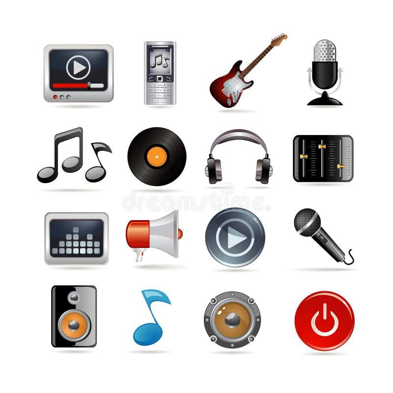 Os ícones da música ajustaram-se ilustração do vetor
