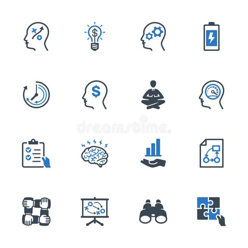 Os ícones da melhoria de produtividade ajustaram 2 - série azul ilustração do vetor