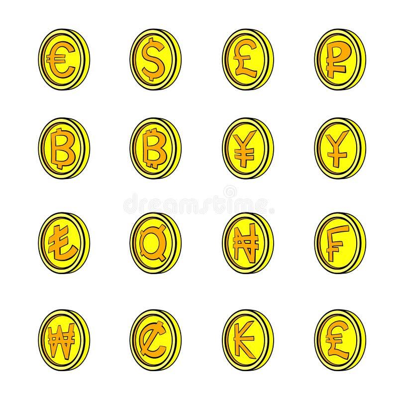Os ícones da moeda ajustaram desenhos animados ilustração do vetor