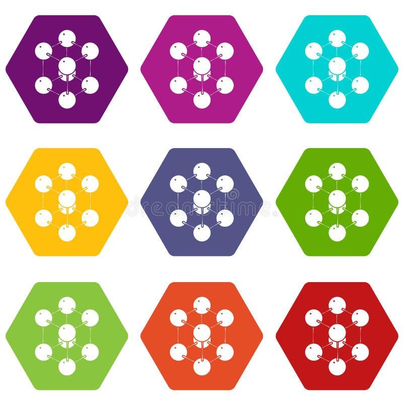 Os ícones da molécula do cubo ajustaram o vetor 9 ilustração royalty free