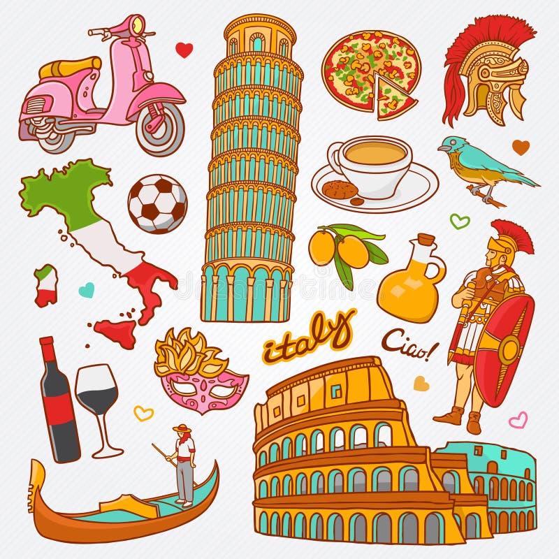 Os ícones da natureza e da cultura de Itália rabiscam ilustração ajustada do vetor ilustração stock