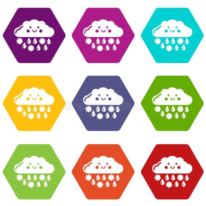 Os ícones da neve e da chuva ajustaram 9 ilustração do vetor