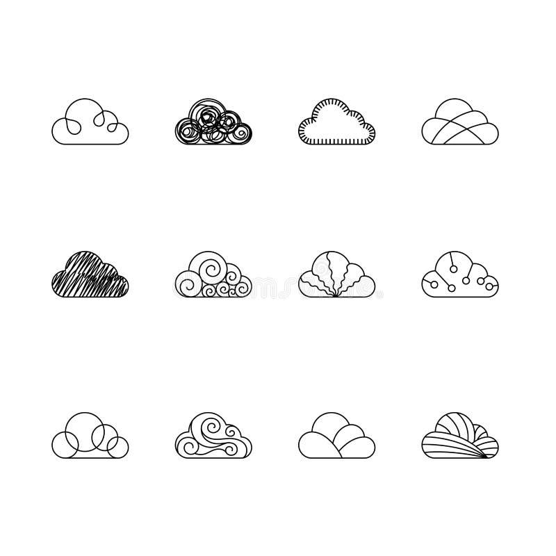 Os ícones da nuvem esboçam a cor preto e branco da ilustração da cenografia do curso isolados no fundo branco, vetor ilustração do vetor