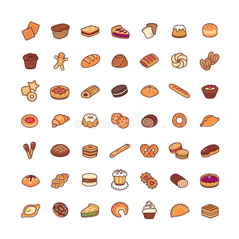 Os ícones da padaria ajustaram-se ilustração royalty free