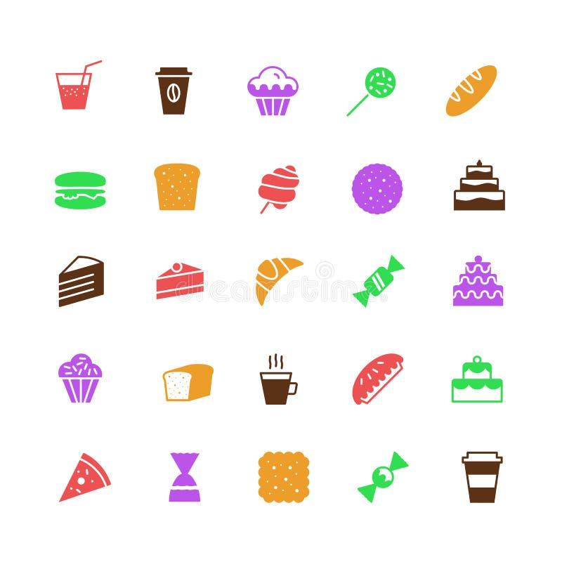 Os ícones da padaria do vetor ajustaram o estilo liso simples da cor ilustração royalty free