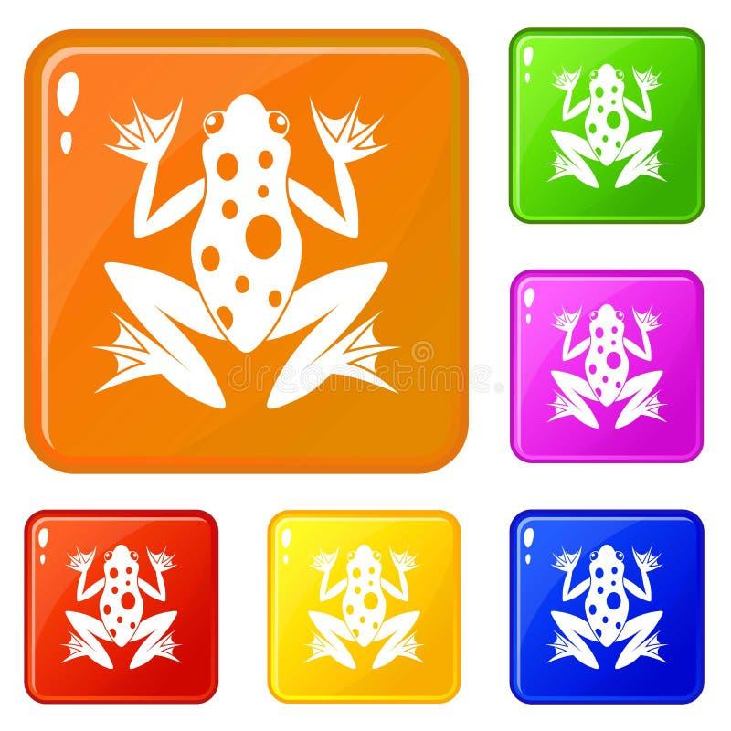 Os ícones da rã ajustaram a cor do vetor ilustração royalty free