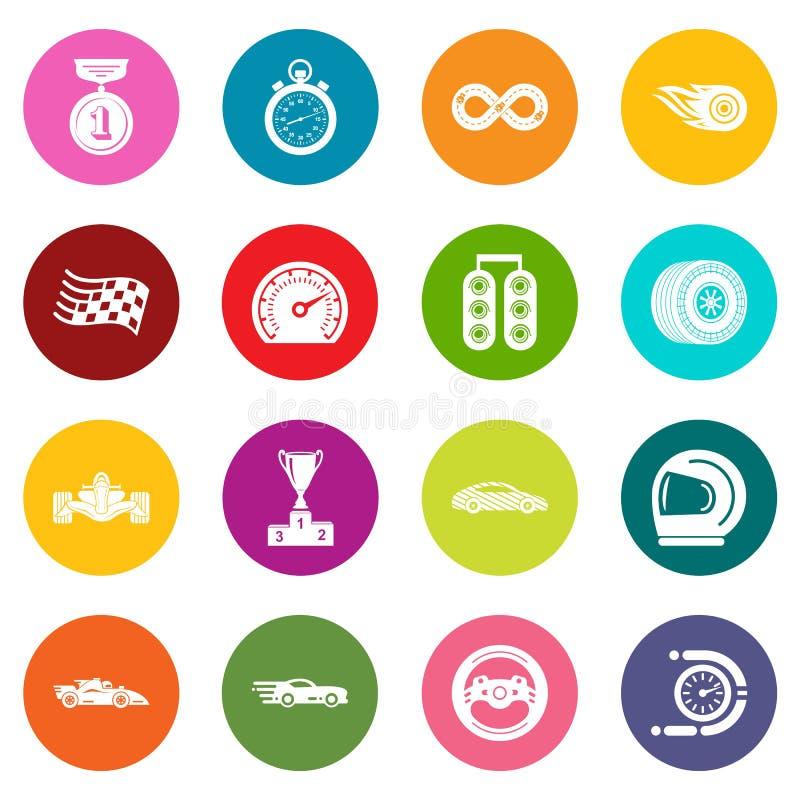 Os ícones da raça de carro ajustaram o vetor colorido dos círculos ilustração stock