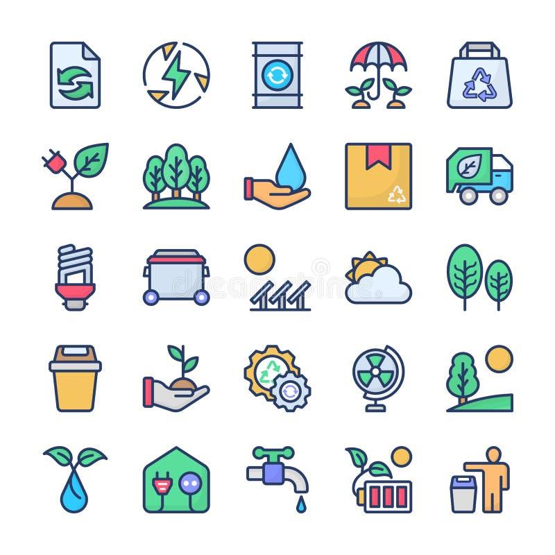 Os ícones da reciclagem e da ecologia empacotam ilustração stock