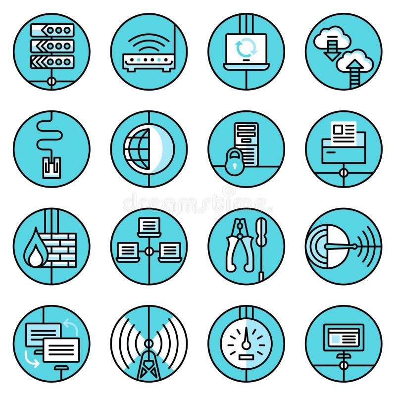 Os ícones da rede ajustaram a linha azul ilustração stock