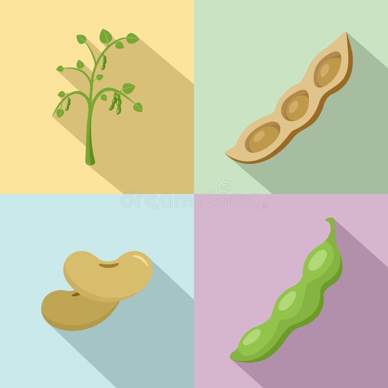 Os ícones da semente dos feijões da soja do feijão de soja ajustaram o estilo liso ilustração do vetor