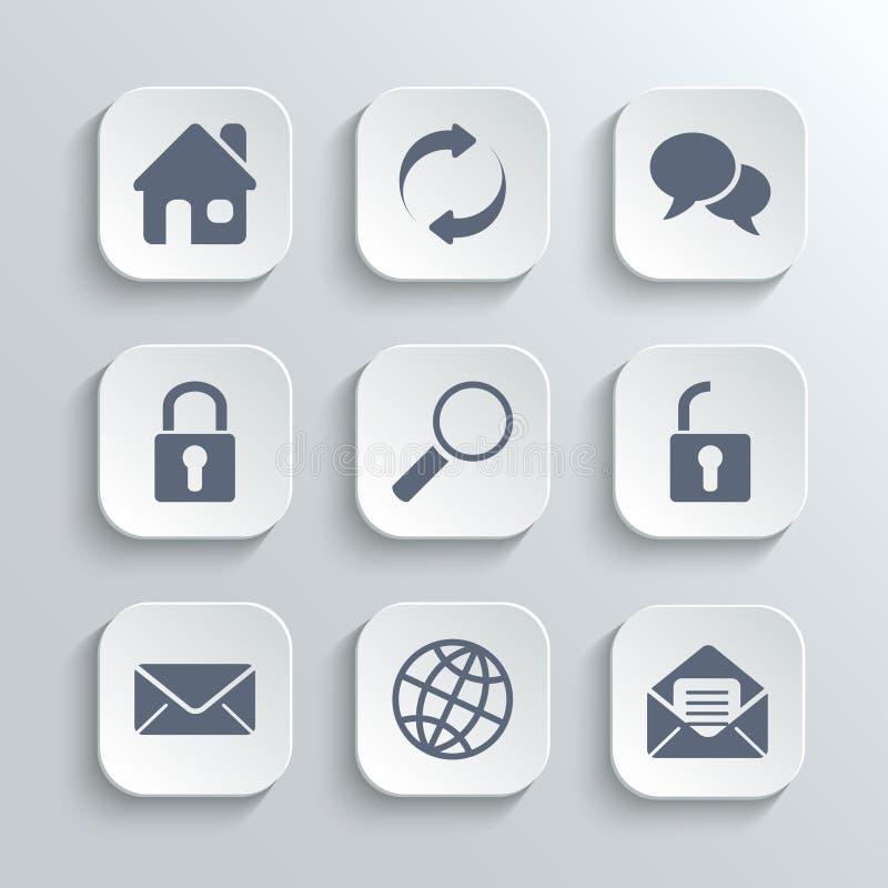 Os ícones da Web ajustam-se - vector os botões brancos do app ilustração do vetor