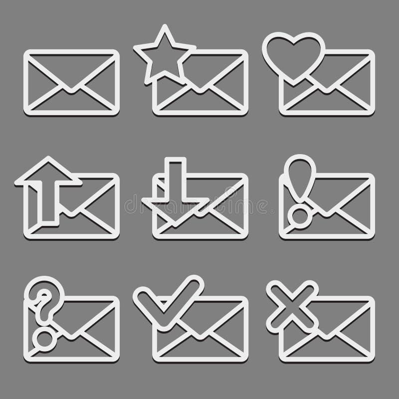 Os ícones da Web do envelope do correio ajustaram-se no fundo escuro. ilustração stock