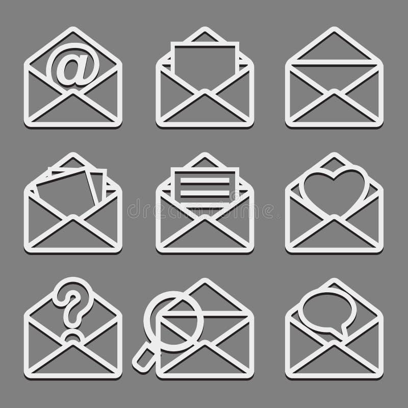 Os ícones da Web do envelope do correio ajustaram-se no fundo escuro. ilustração do vetor