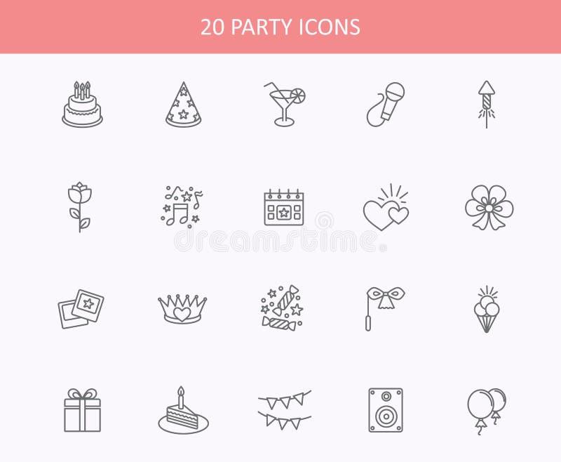 Os ícones da Web do esboço ajustaram - o partido, aniversário, feriados ilustração stock