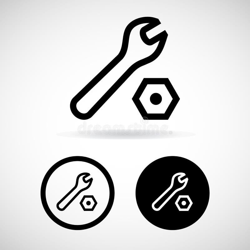 Os ícones das ferramentas ajustaram-se grande para todo o uso Vetor eps10 ilustração royalty free